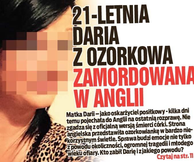 21-letnia Daria z Ozorkowa zamordowana  w Anglii
