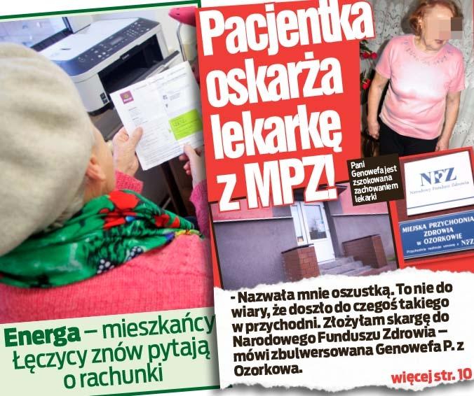 Energa – mieszkańcy Łęczycy znów pytają o rachunki  oraz  Pacjentka oskarża lekarkę z MPZ!