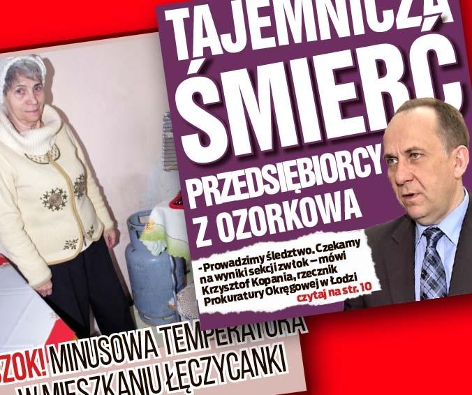 Szok! Minusowa temperatura  w mieszkaniu łęczycanki oraz Tajemnicza śmierć przedsiębiorcy z Ozorkowa