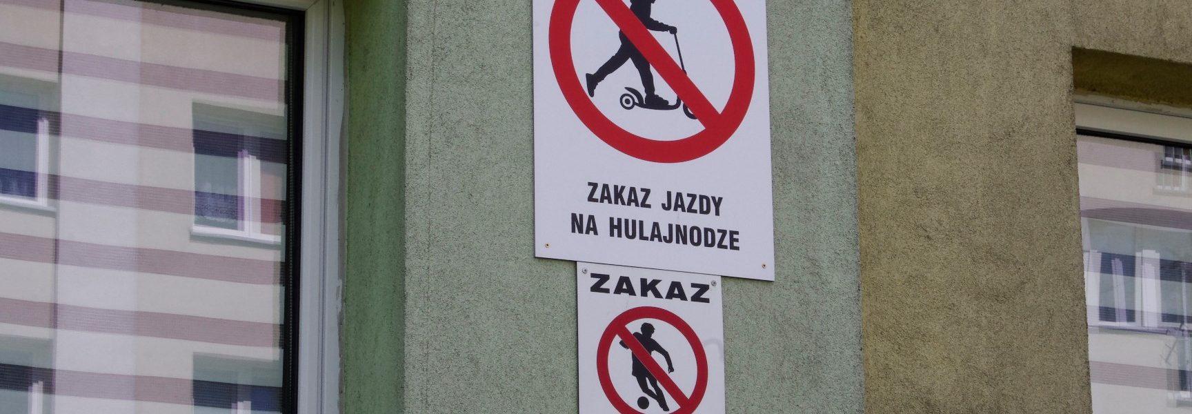 zakaz dla hulajnogi